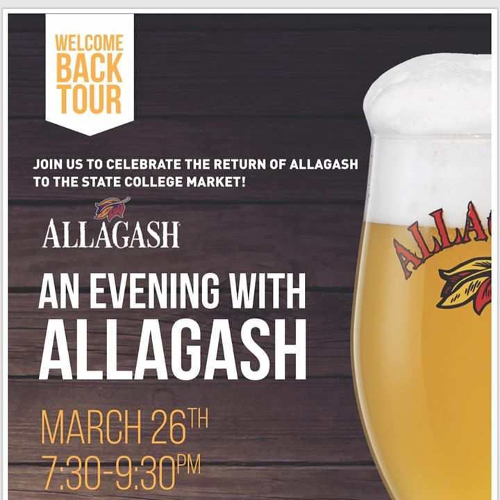 Come join us this Tuesday at Local Whiskey, March 26th, from 7:30 to 9:30 pm, as we celebrate the return of @allagashbrewing to the State College market! ••• We will be featuring 6 of their premium drafts on tap, as well as beer tasting flights, AND for t