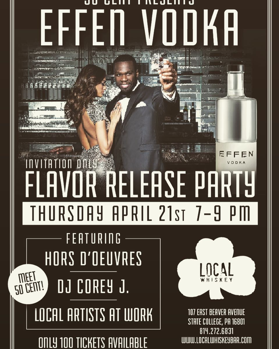 #50cent coming to #localwhiskeybar Thursday April 21st from 7-9 for his #effenvodka release promotion! Tickets on sale for $25. Passed Hors d'ouvres, live entertainment, free Effen Craft Cocktail, and a chance to win local artists' paintings!