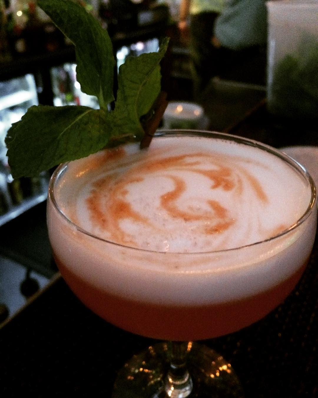 """For a nice touch of summer come try a """"Let's Draw Straws."""" Strawberry-infused #barsolpisco lemon, lime, simple syrup, egg white. #cocktails #localwhiskeybar #barsol #cocktailhour #bartending #mixing #summercocktails"""