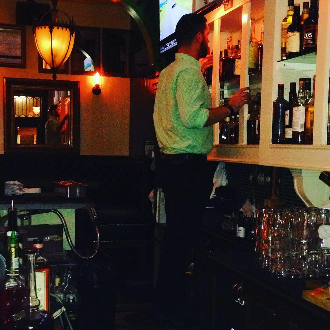 When your 6'5 @naterora has to stand on a bucket to look for #cornercreekbourbon because the bourbon runs deep! #bourbon #loki #whisky #whiskey #originalhashtagsforsale #weservewhiskey #whiskeyneat #glencairn #glen-be-carin-ya'll #letstoast #military #wh