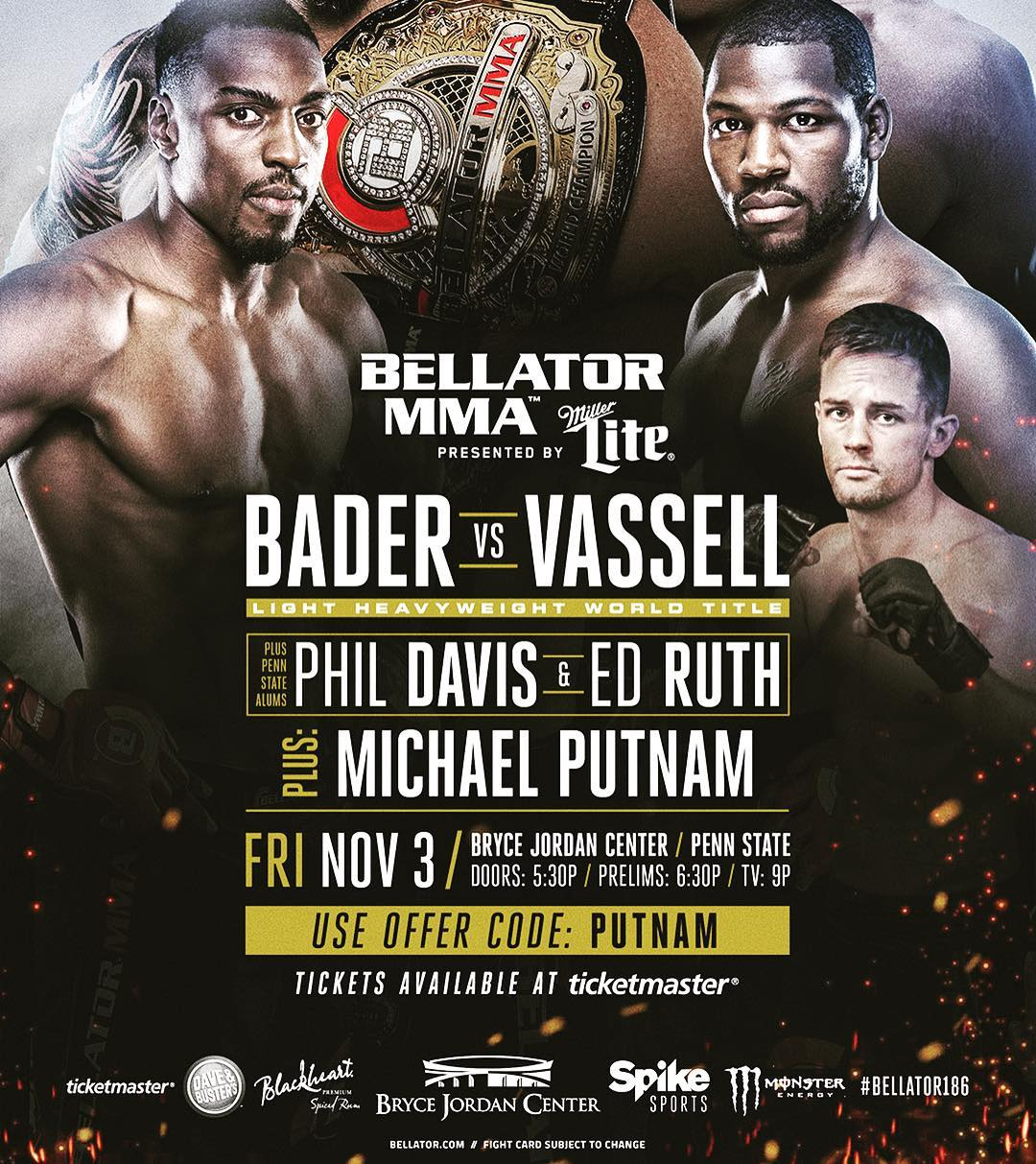 Local Whiskey would like to send a HUGE congratulations to @mputnam15 for making his @bellatormma debut at this upcoming Nov 3rd @jordancenter event!! Mike Putnam has been working @localwhiskeybar for several years, starting as a member of our security t