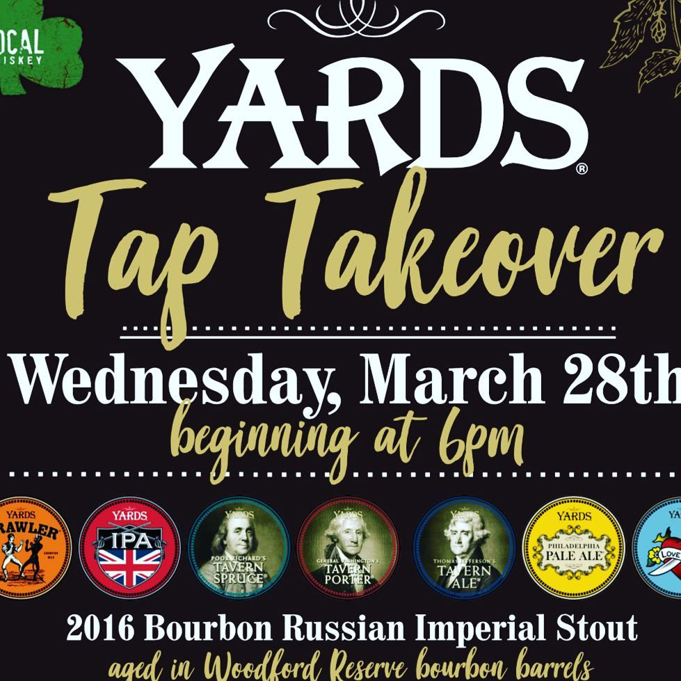 Join us @localwhiskeybar this Wednesday, March 28th at 6pm, as we host a @yardsbrew Tap Takeover! We will be tapping 12 Yards drafts including classic favorites, as well as new releases, and a specialty Pin of Grapefruit Pale Ale! We will also be featurin
