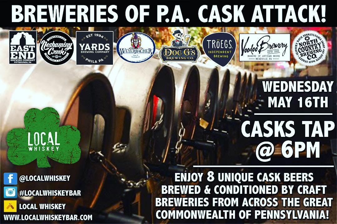 Make sure to join us tonight at 6pm as we host our Breweries of PA Cask Attack!! We will be featuring unique casks from 8 breweries located across our great Commonwealth! Each brewery will be featuring their own signature cask for the event! ••• 1. Yards