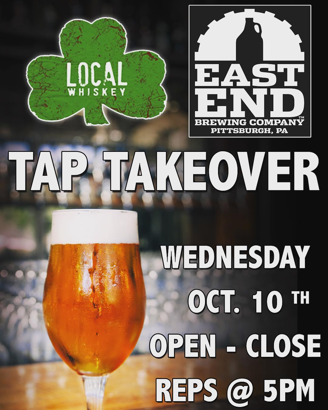 Join us this Wednesday, October 10th, at 5 pm as we host Pittsburgh's own @eastendbrewing for a Tap Takeover!! ••• We will be tapping: *Bourbon Barrel Aged Fatter Gary *2017 Gratitude Barleywine *Bourbon Barrel Aged Nunkin *Britsburgh Honey Heather *Guabb